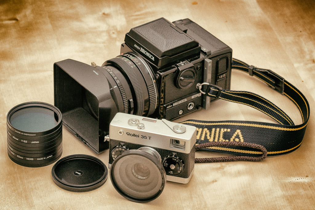 Bronica ETRSi and Rollei 35 cameras